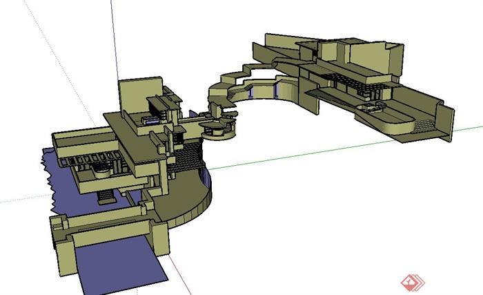 某山地流水综合别墅建筑设计su模型