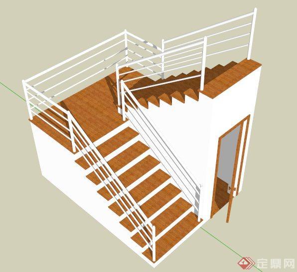简约现代木板楼梯设计su模型