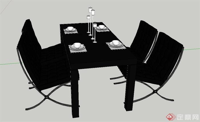某简欧风格室内餐桌椅设计su模型