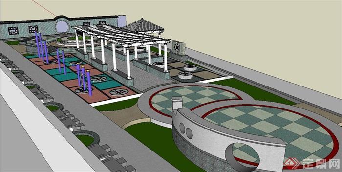 古典中式楚河漢界廣場景觀設計su模型