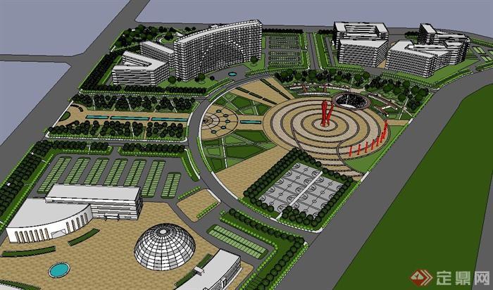 城市大型广场景观规划设计su模型