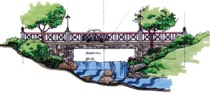 素描手绘河流树