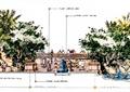 台阶,景墙,水体景观,植物,公园景观