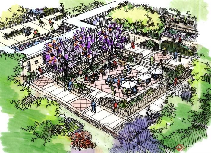 城市景观节点设计手绘图-景墙地面铺装栏杆桌椅遮阳