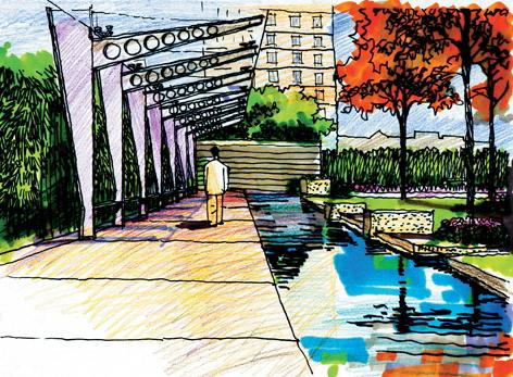城市景观节点设计手绘图-廊架河流景观植被建筑住宅