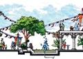 喷泉水景,景观树,盆栽植物,?#36820;?台阶,商业环境