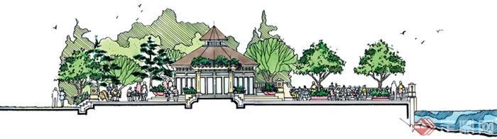 城市景观节点设计手绘图-亭子台阶植被栏杆水景-设计