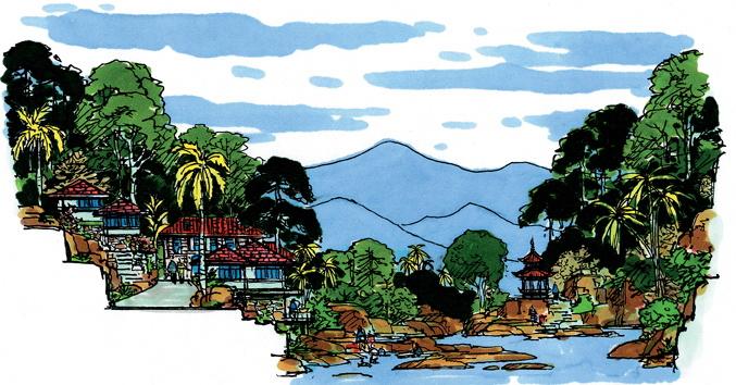 城市景观节点设计手绘图-河流景观景石亭子植被建筑