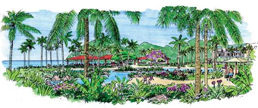 景观设计手绘图-棕榈棕树滨水景观泳池景观-设计师