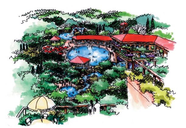 景观设计手绘图-泳池长亭廊架泳池景观-设计师图库