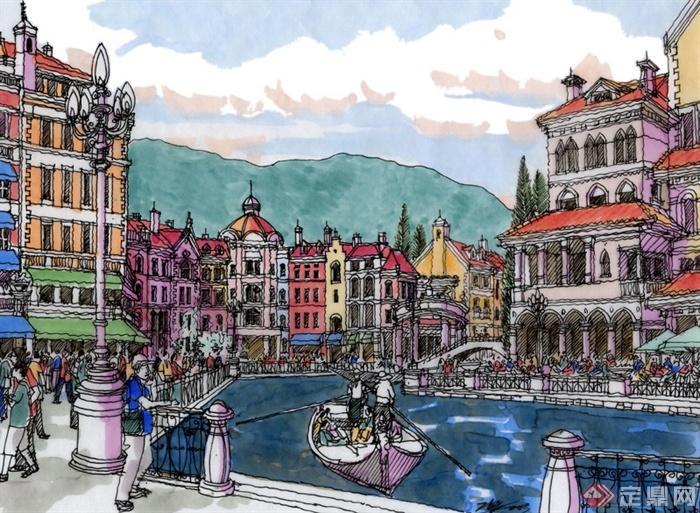 景观设计手绘图-滨水景观河道景观船只住宅建筑栏杆