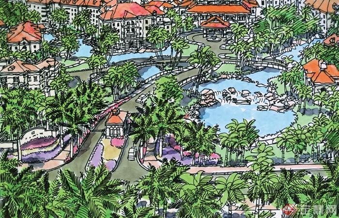 景观设计手绘图-棕榈棕树道路景观景观水池水池入口