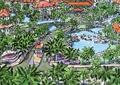 道路景观,景观水池,水池,入口景观,岗亭