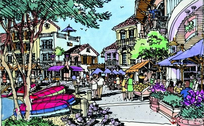 景观设计手绘图-步行街船只遮阳伞-设计师图库