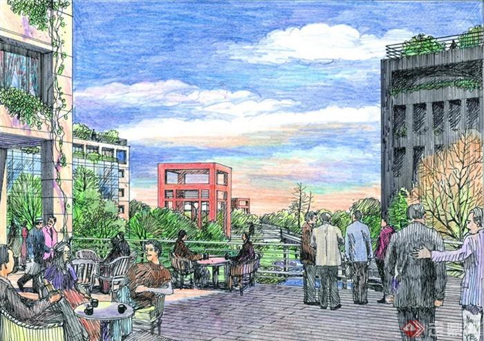 景观设计手绘图-桌椅组合小区景观-设计师图库