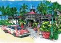 商业建筑,道路,地面铺装,盆栽植物,路灯,景观树