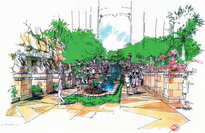 城市住宅景观规划设计手绘图-水池景观地面铺装花钵