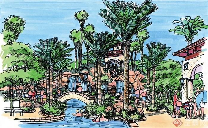 城市住宅景观规划设计手绘图-河流景观园桥廊架景观