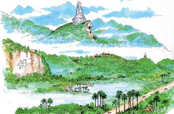 城市住宅景观规划设计手绘图-山体景观道路植被景墙景