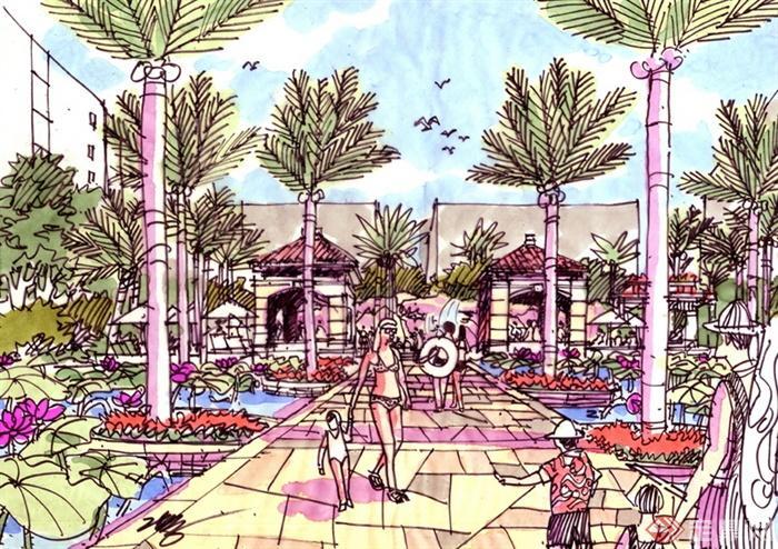 城市住宅景观规划设计手绘图-地面铺装景观树亭子水生