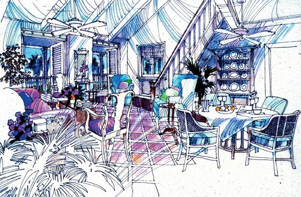 城市住宅景观规划设计手绘图-餐桌椅餐具盆景植物地面