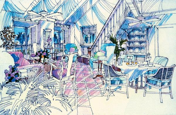 城市住宅景观规划设计手绘图-地面铺装餐桌椅盆景