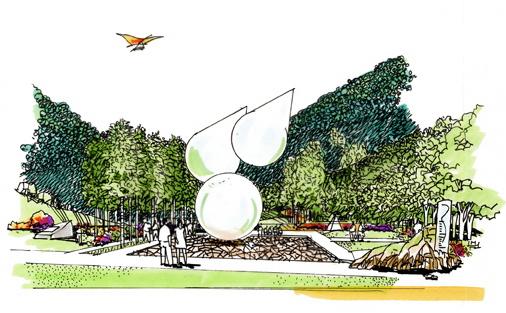 景观设计手绘图集-雕塑景观小品乔木-设计师图库