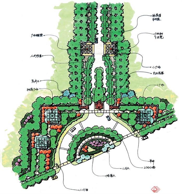 城市公园景观规划设计手绘图-公园景观规划道路植被