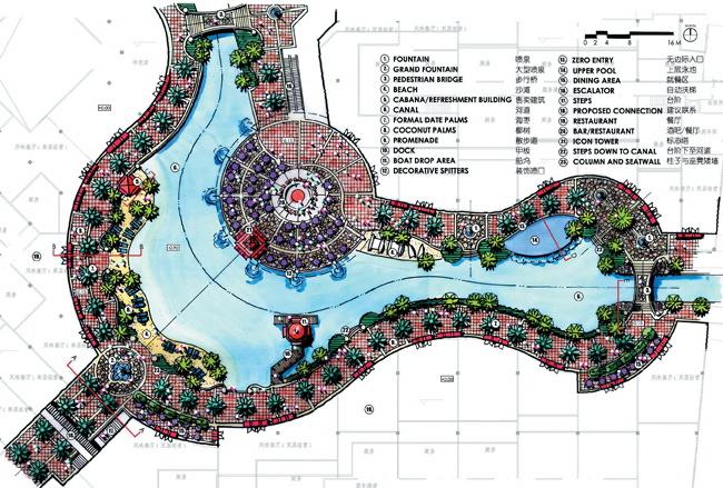 城市公园景观规划设计手绘图-滨水景观规划码头园路