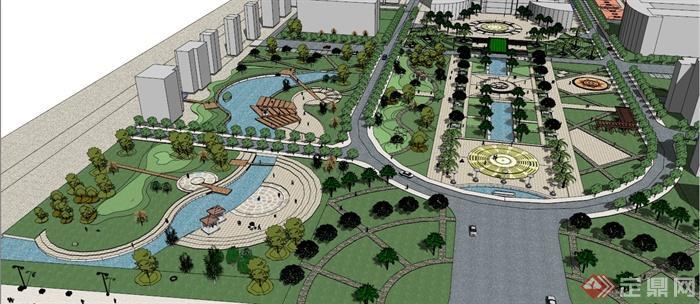 現代風格學校廣場景觀設計su模型