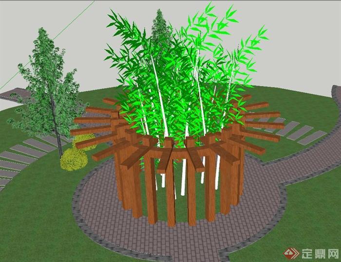 园林景观木质圆形廊架设计su模型(1)