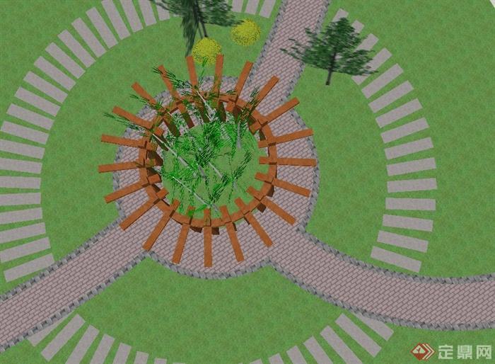 园林景观木质圆形廊架设计su模型(2)