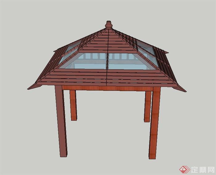园林景观节点木质玻璃四角亭设计su模型(1)