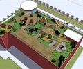 亭子,廊架,园路,桌椅,植被,屋顶花园