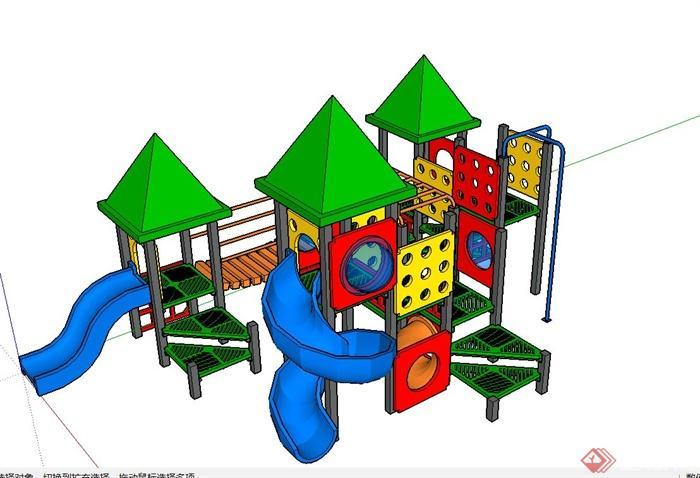 多款室外健身器材与儿童游乐设施设计su模型
