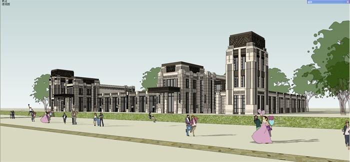 新古典风格售楼处,会所建筑设计su模型