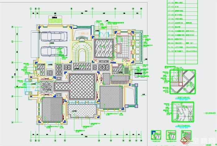 某美式风格住宅空间装修设计CAD施工图与JPG效果图
