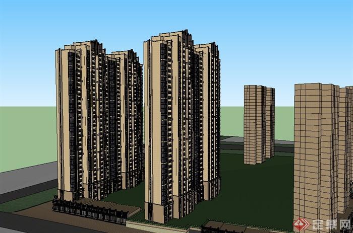 某新古典高层沿街商住房建筑设计su模型[原创]