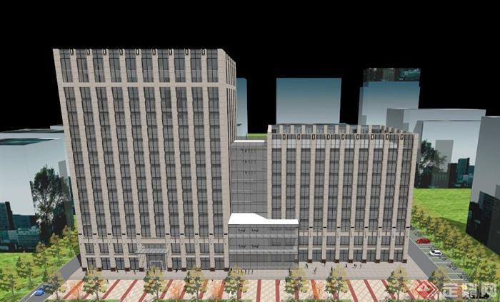 新古典小高層辦公樓建筑設計su模型(6)
