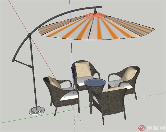 现代室外阳伞与四人桌椅设计su模型