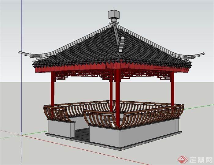 古典中式四角景观亭子设计su模型图片