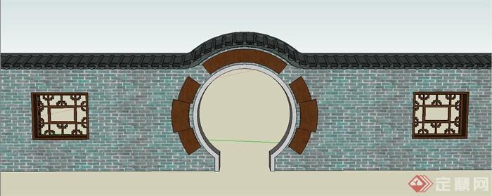 园林景观节点古典中式月亮门与围墙设计su模型(1)