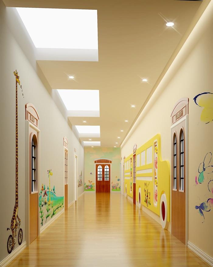 现代风格幼儿园教室室内设计su模型(含效果图)