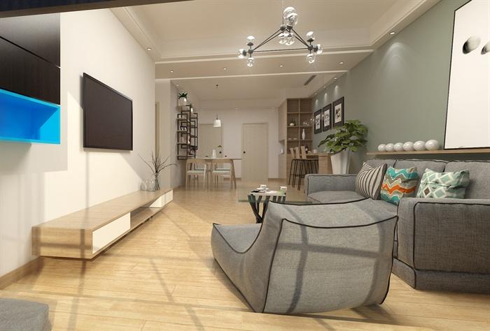 北欧风客厅餐厅室内设计su模型(含效果图)