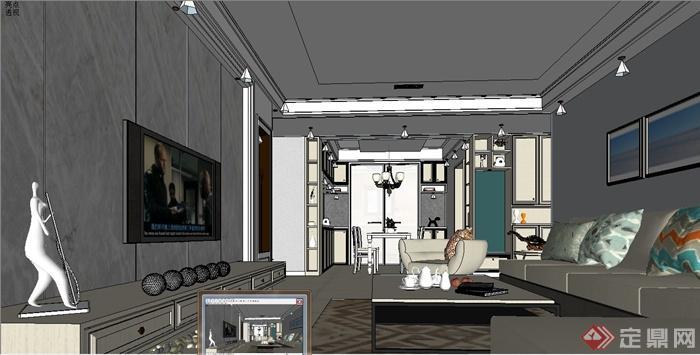 某简欧风格室内客厅家装设计su模型(4)