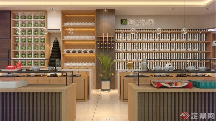 现代中式茶店装修设计su模型(1)