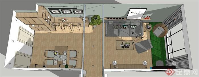 北欧风客厅餐厅室内设计su模型(含效果图)(8)