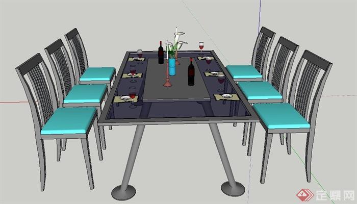 某室内六人长方形餐桌椅设计su模型