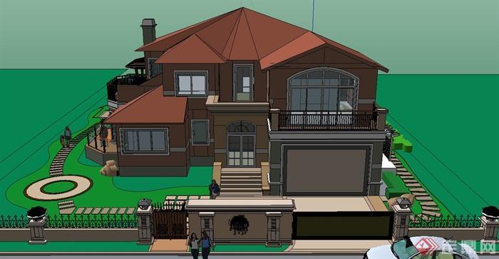 某兩層豪華歐式別墅建筑設計su模型[原創]