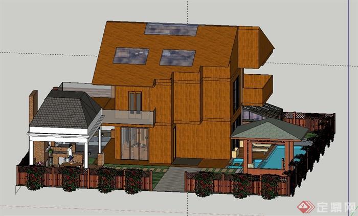 某古典中式多层木制别墅建筑设计su模型